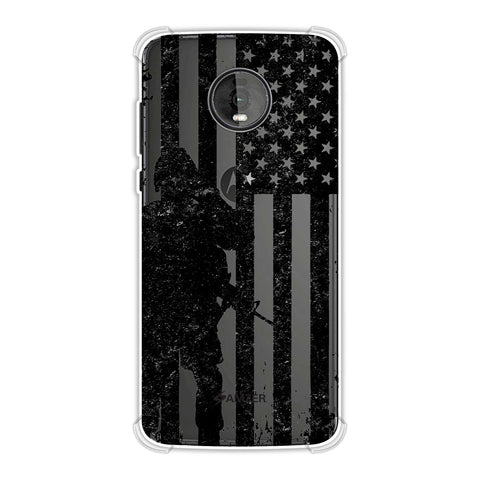 USA Flag - Soldier - Monochrome Soft Flex Tpu Case For Motorola Moto Z4