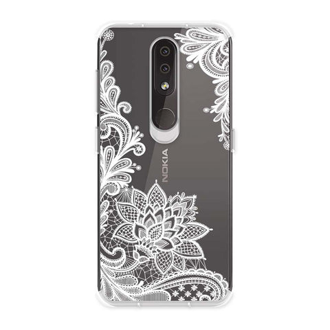 Floral Pattern B/W Soft Flex Tpu Case For Nokia 4.2