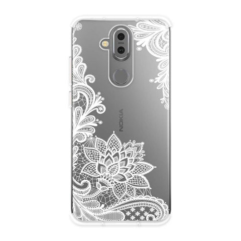 Floral Pattern B/W Soft Flex Tpu Case For Nokia 7.1 Plus
