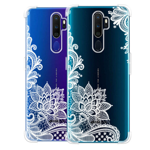 Floral Pattern B/W Soft Flex Tpu Case For Oppo A9 2020