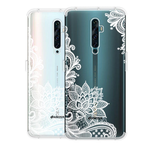 Floral Pattern B/W Soft Flex Tpu Case For Oppo Reno2 F