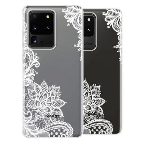 Floral Pattern B/W Soft Flex Tpu Case For Samsung Galaxy S20 Ultra