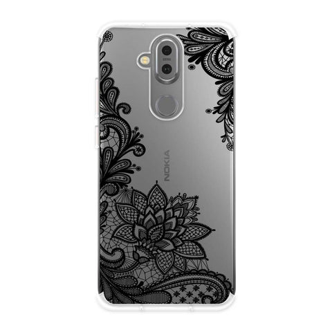 Floral Pattern B/W 1 Soft Flex Tpu Case For Nokia 7.1 Plus