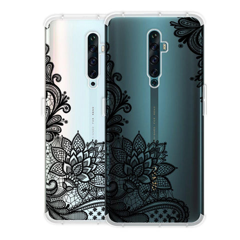 Floral Pattern B/W 1 Soft Flex Tpu Case For Oppo Reno2 F