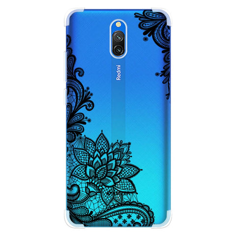 Floral Pattern B/W 1 Soft Flex Tpu Case For Redmi 8A Dual