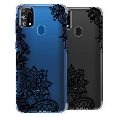 Floral Pattern B/W 1 Soft Flex Tpu Case For Samsung Galaxy M31