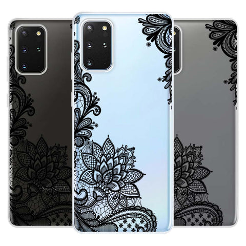 Floral Pattern B/W 1 Soft Flex Tpu Case For Samsung Galaxy S20+