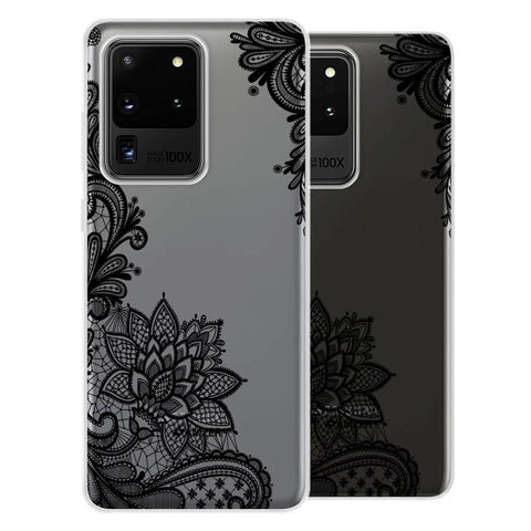Floral Pattern B/W 1 Soft Flex Tpu Case For Samsung Galaxy S20 Ultra