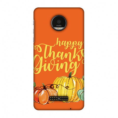 Thanksgiving Pumpkin Pattern Slim Hard Shell Case For Motorola Moto Z