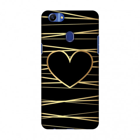 Golden Heart Ribbon Slim Hard Shell Case For OPPO A79