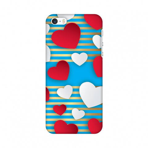Blue Gold Lines With Hearts Slim Hard Shell Case For Apple iPhone SE