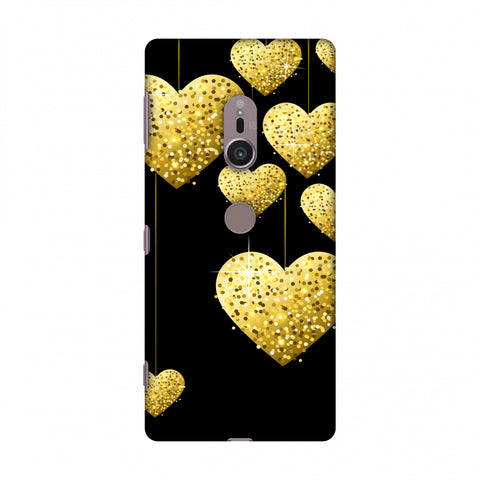 Golden Hanging Hearts Slim Hard Shell Case For Sony Xperia XZ2