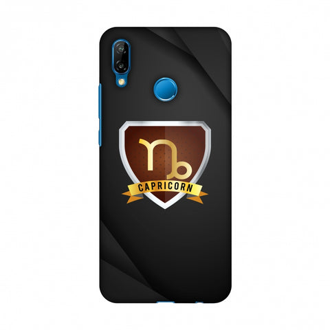 Black Capricorn Slim Hard Shell Case For Huawei P20 Lite