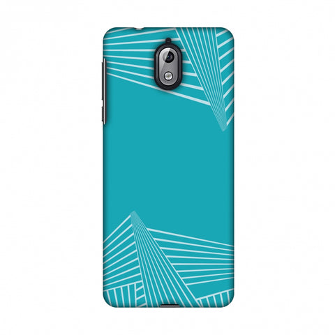 Carbon Fibre Redux Aqua Blue 3 Slim Hard Shell Case For Nokia 3.1
