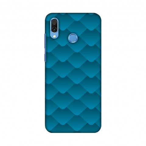 Carbon Fibre Redux Aqua Blue 11 Slim Hard Shell Case For Huawei Honor Play