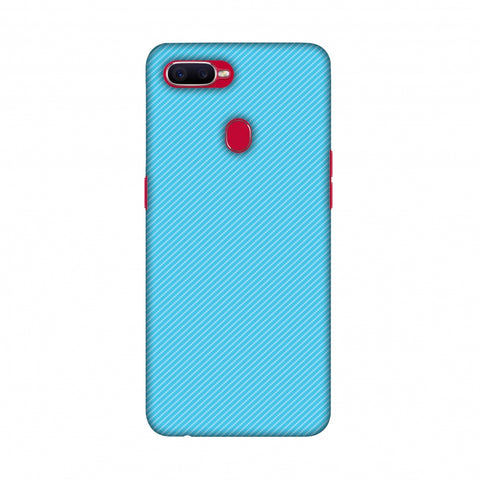 Carbon Fibre Redux Aqua Blue 17 Slim Hard Shell Case For Oppo F9 Pro