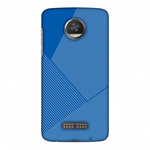 Carbon Fibre Redux Coral Blue 1 Slim Hard Shell Case For Motorola Moto Z2 Play