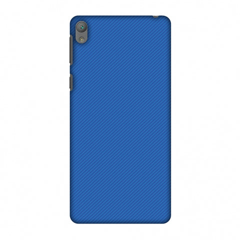 Carbon Fibre Redux Coral Blue 17 Slim Hard Shell Case For Sony Xperia E5