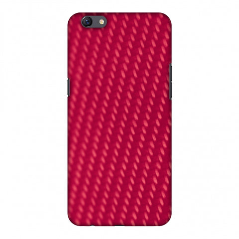 Carbon Fibre Redux CAndy Red 13 Slim Hard Shell Case For Oppo F3 Plus