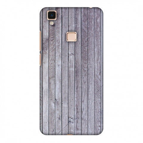 Grey Wood Slim Hard Shell Case For Vivo V3 Max