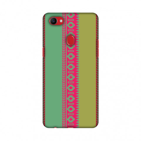 Tribal Patterns And Solids - Aquamarine And Awesome Pink Slim Hard Shell Case For Oppo F7