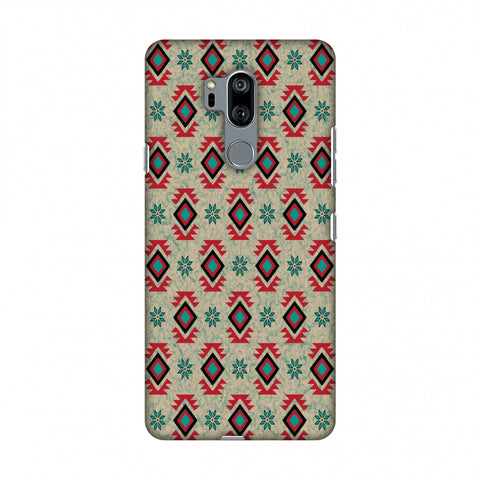 Cool Tribals - Teal And Red Slim Hard Shell Case For LG G7 ThinQ