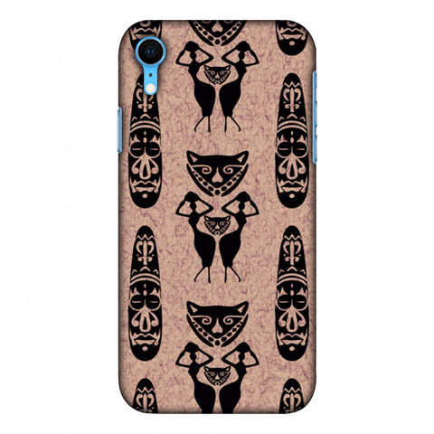 Tribal Murals - Black And Beige Slim Hard Shell Case For Apple iPhone Xr