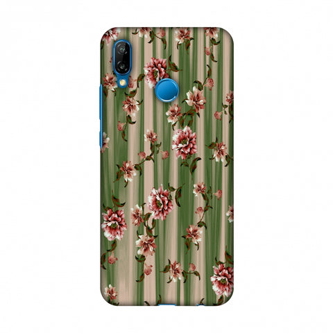 Dahlia With Texture - Olive And Red Slim Hard Shell Case For Huawei P20 Lite
