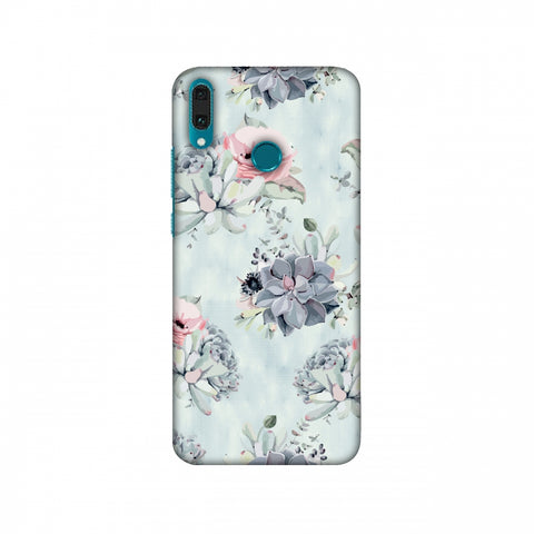 Watercolour Flowers - Blue And Pink Slim Hard Shell Case For Huawei Y9
