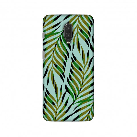 Ferns Allover - Blue Slim Hard Shell Case For OnePlus 6T