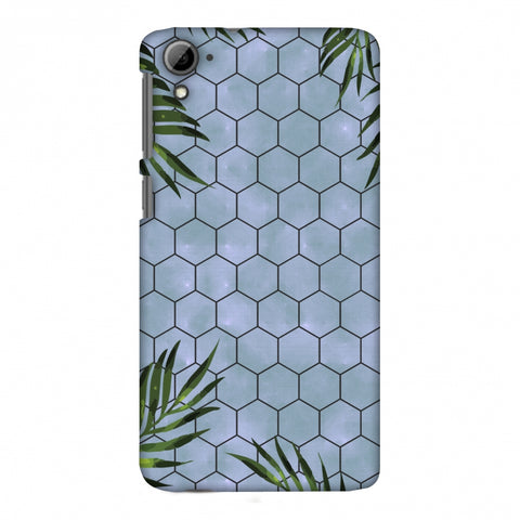 Ferns Over Honeycomb - Pale Blue Slim Hard Shell Case For HTC Desire 826