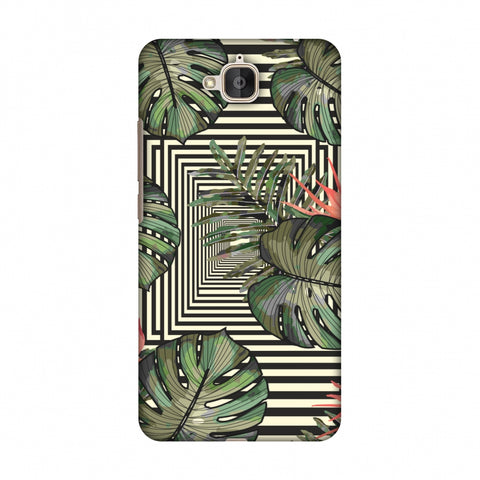 Leaves Over Stripes - Forest Green Slim Hard Shell Case For Huawei Honor Holly 2 Plus