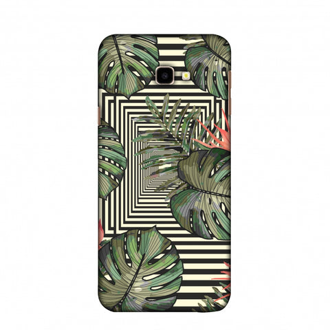 Leaves Over Stripes - Forest Green Slim Hard Shell Case For Samsung Galaxy J4 Plus