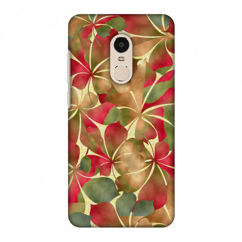 Overlapped Leaves - Green And Red Slim Hard Shell Case For Xiaomi Redmi Note 4