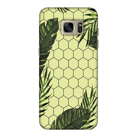 Tropical Leaves - Honey Yellow Slim Hard Shell Case For Samsung GALAXY S7 Edge