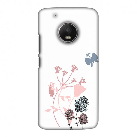 Flowers And Butterfly - Transparent Slim Hard Shell Case For Motorola Moto G5 Plus