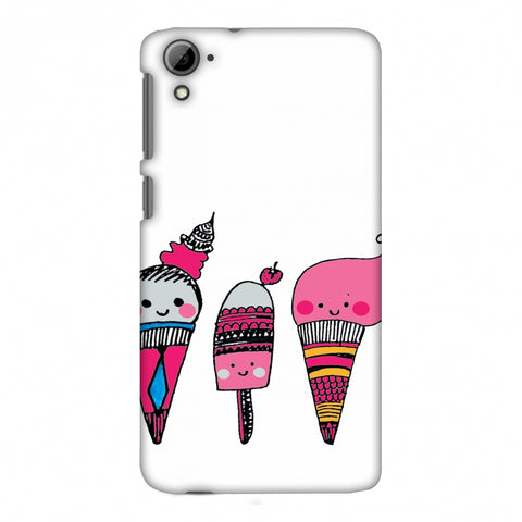 Ice Creams - Transparent Slim Hard Shell Case For HTC Desire 826