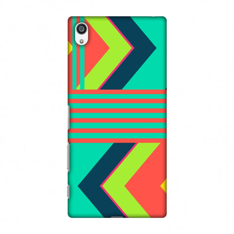 Aztec - Teal And Coral Slim Hard Shell Case For Sony Xperia Z5 Premium