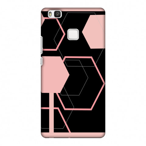 Hexagons - Baby Pink And Black Slim Hard Shell Case For Huawei P9 Lite