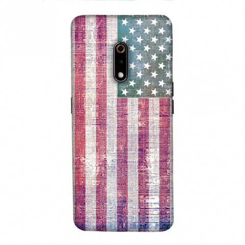 USA flag- Wood texture Slim Hard Shell Case For Realme X