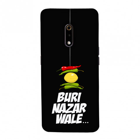 Buri Nazar Wale- Nimbu Mirchi- Black Slim Hard Shell Case For Realme X