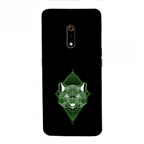 Geo Lion - Hunter Green Slim Hard Shell Case For Realme X