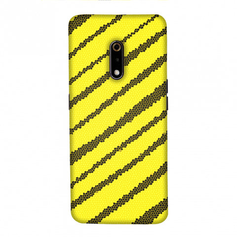 Bees - Stained Glass Diagonal Stripes Slim Hard Shell Case For Realme X
