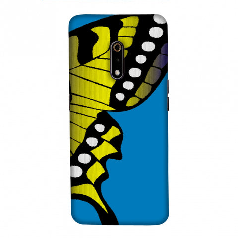 Butterfly - Fibre Wings Gradation - Mustard To Blue Slim Hard Shell Case For Realme X
