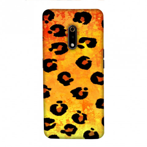 Leopard - Brushed Spots - Yellow Grunge Slim Hard Shell Case For Realme X