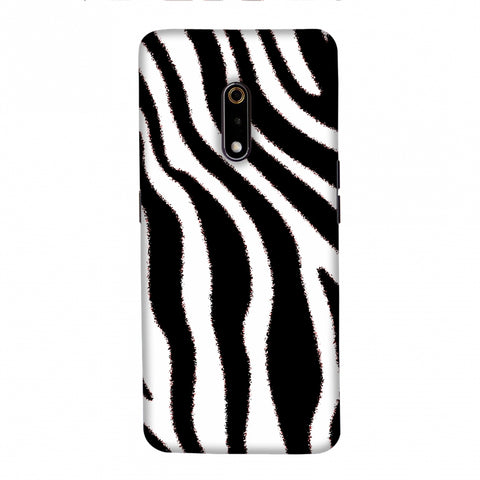 Zebra - Black And White Brushed Stripes Hair Effect Slim Hard Shell Case For Realme X