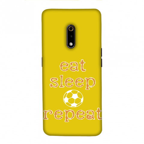 Football - Eat Sleep Football Repeat - Yellow Slim Hard Shell Case For Realme X