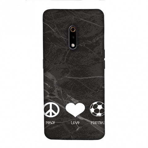 Football - Love Peace Football - Black Marble Slim Hard Shell Case For Realme X