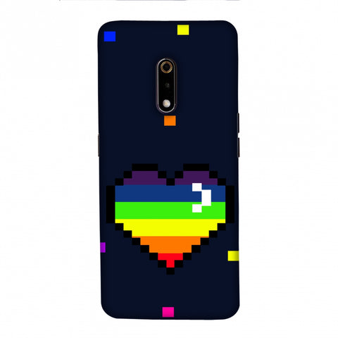 Pixelated Heart Slim Hard Shell Case For Realme X