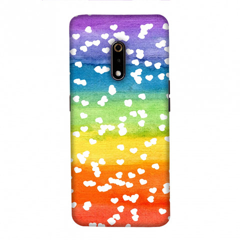 Rainbow Hearts Slim Hard Shell Case For Realme X